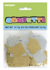 Gold and Silver Square Tissue Confetti 14g